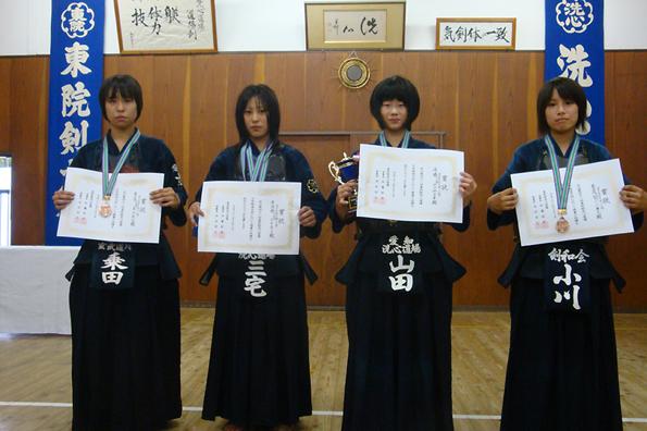 第41回東別院洗心道場少年剣道大会 中学生女子の部 入賞者